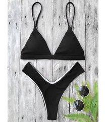 textured high cut padded plunge bikini set