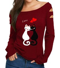 camisetas mujer amor gatos imprimir manga larga mujer camiseta casual-rojo