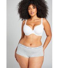 lane bryant women's cotton boyshort panty with wide waistband 12 heather grey