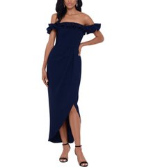xscape ruffle off-the-shoulder gown