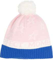 perfect moment pompom merino beanie hat - pink