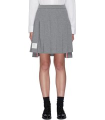 pleated cotton high-low skirt