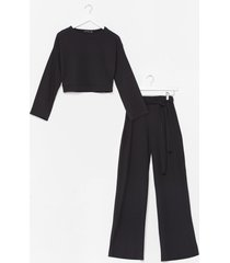 womens two times the charm crop top and wide-leg pants set - black