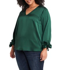 plus size women's cece tie sleeve satin blouse