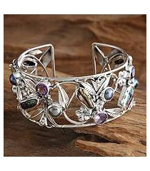pearl and amethyst flower bracelet, 'tropical frangipani' (indonesia)