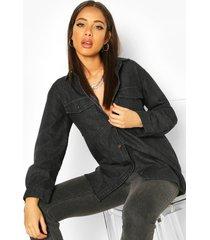 oversized denim shirt, black