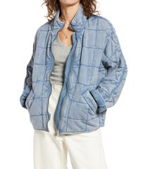 women's free people dolman sleeve quilted jacket, size large - blue
