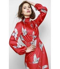 czerwona sukienka w ptaki gloria