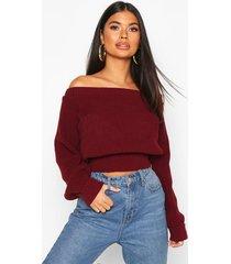 petite bardot balloon sleeve sweater, wine
