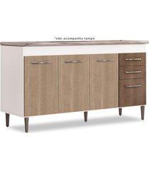 balcão gabinete de pia 150cm lisboa 4pts 2gav branco/carvalho - lumil móveis