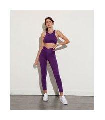 calça legging cós cruzado com vazado e proteção uv mindset sport roxa