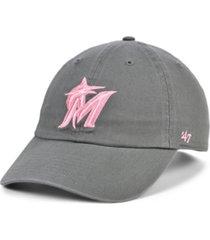 '47 brand miami marlins dark gray pink clean up cap