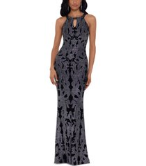 betsy & adam glitter-print gown
