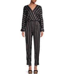 maje women's striped jumpsuit - black - size 2 (m)