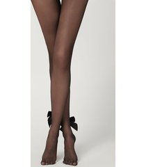 calzedonia tulle tights with back seam and velvet bow woman black size xs