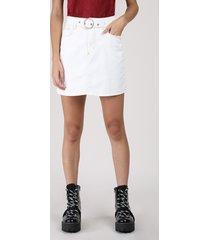 saia de sarja feminina curta com cinto branca