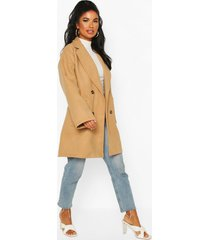 petite oversize double breasted pocket detail coat, camel