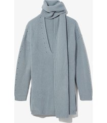 proenza schouler white label convertible scarf v-neck sweater steel blue s