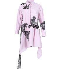 lace insert asymmetric shirt dress