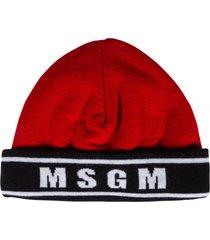 msgm stripe logo detail beanie