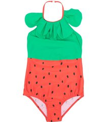 mini rodini strawberry print swimsuit - red