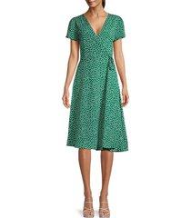 avantlook women's ditsy floral wrap dress - green - size s