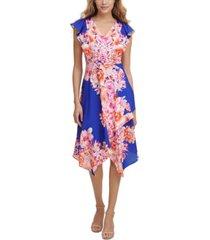 kensie v-neck printed midi dress