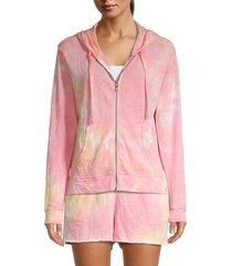 splendid women's tie-dye zip hoodie - sunbloom tie dye - size l