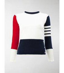 thom browne contrast stripe pullover