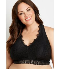 maurices plus size womens black lace mesh trim racerback bralette