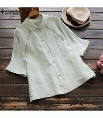 zanzea las mujeres del verano más la corto de algodón manga camisas de las señoras flojas ocasionales remata la blusa -verde claro