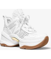 mk sneaker olympia in tessuto intrecciato e pelle - bianco ottico (bianco) - michael kors