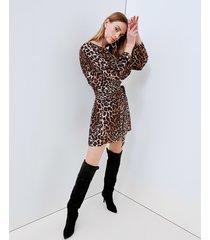 motivi vestito animalier con fusciacca donna marrone