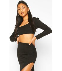 long sleeve bandage top and skirt co-ord set, black