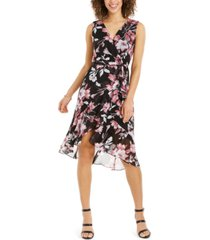 connected petite floral-print flounce dress