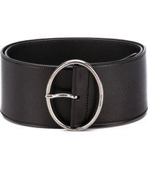 saint laurent oval buckle adjustable belt - black