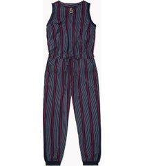 tommy hilfiger women's adaptive sleeveless jumpsuit navy stripe - xs