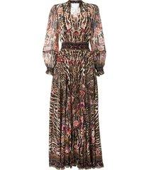 camilla shirred-waist dress - brown
