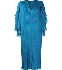 alberta ferretti plissé shift dress - blue