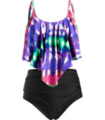 plus size tie dye flounce high waisted tankini swimwear