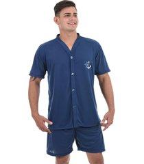 pijama 4 estações masculino adulto com botão aberto short curto verão conforto azul marinho - kanui