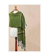alpaca blend shawl, 'moss elegance' (peru)