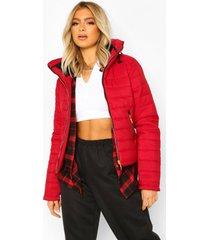 tall gewatteerde jas met faux fur zoom en ceintuur, red