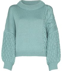 i love mr mittens high neck knitted jumper - blue