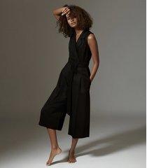 reiss malika - culotte jumpsuit in black, womens, size 12