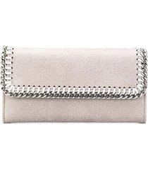 stella mccartney light grey and silver continental falabella wallet