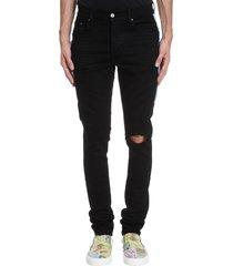 amiri watercolor half jeans in black denim