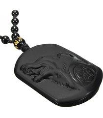 dije collar cabeza lobo tallada obsidiana negra natural 9376