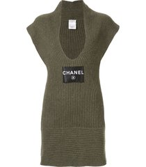 chanel pre-owned sleeveless one piece dress - green
