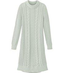 comfortabele gebreide jurk met opvallend kabelpatroon, bleekgroen 34